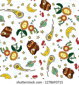 Colorful seamless pattern with white background. Cute owl, flowers, crescent moon, planet, comet and shooting stars elements. Quiet good night and space theme. Suitable for pajamas or wrapping paper.