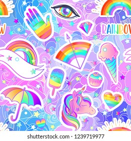 Colorful seamless rainbow pattern: candies, sweets, ice cream, unicorn,umbrella, hand. Vector illustration. Stickers, pins, patches. Halloween pastel colors. Cute gothic style