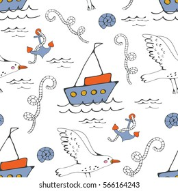 Colorful seamless sea pattern with seagulls anchors and boats