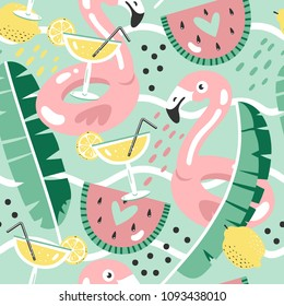 Colorful seamless summer pattern with hand drawn beach elements.