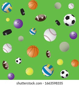 Colorful seamless vector background of sport balls images: volleyball, basketball, football, american football, bowling, baseball, tennis, golf and Hockey puck. Wallpaper for the nursery