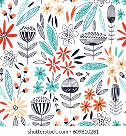 Colorful seamless vector floral pattern
