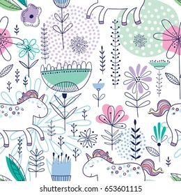 Colorful seamless vector pattern with cute unicorns and flowers