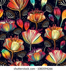 Colorful seamless vector pattern with flowers and plants. Colored hand drawn decorative poppies on the dark background. Bright floral backdrop. Floral motif vector backdrop