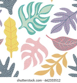 Colorful seamless vector pattern with leaves