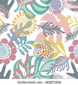 Colorful seamless vector pattern with leaves and flowers