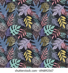 Colorful seamless vector pattern with leaves on the dark background