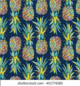 Colorful seamless vector pattern with pineapples