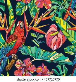 Colorful seamless vector tropical pattern with ara parrot