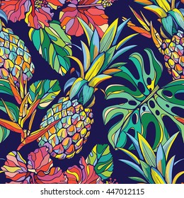 Colorful seamless vector tropical pattern
