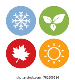 Colorful Season Icons. Winter, Spring, Summer, and Autumn. Vector Illustration Flat Design