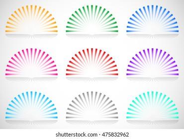 Colorful semi circle starburst / sunburst elements
