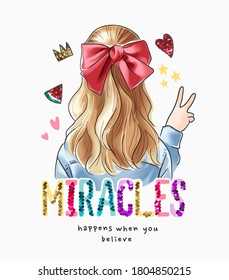 colorful sequins miracle slogan with blonde hair girl illustration