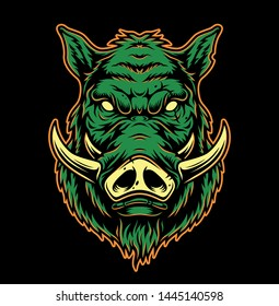 Colorful serious boar head concept in vintage style isolated vector illustration