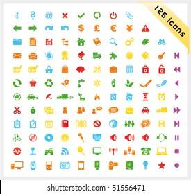 Colorful set of 126 shiny icons
