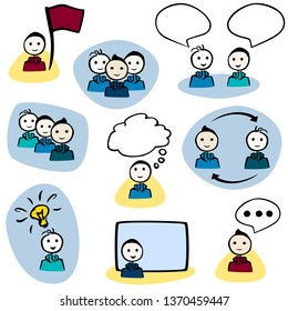 Colorful set of 9 Icons. Male stick man with faces. They are grouped and alone: talking, thinking, giving a presentation etc.