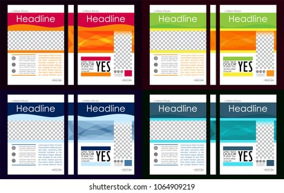 Colorful set of A4 Business Book Cover Design Templates. Good for Portfolio, Brochure, Annual Report, Flyer, Magazine, Academic Journal, Website, Poster, Monograph, Corporate Presentation, Vector.