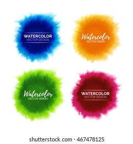Farbige Set abstrakter Aquarellfarben einzeln auf weißem Hintergrund, handgemalte Aquarellpunkte, Vektorgrafik-Vorlage