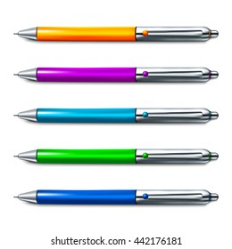 Colorful set of ballpoint pen isolated on white background. Vector illustration