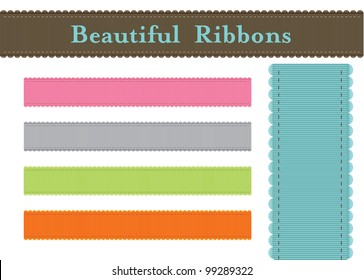 a colorful set of beautiful ribbons