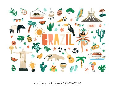 Colorful set of Brazilian culture and nature. Bundle of Brazil national symbols isolated on white background. Colored flat vector illustration of animals, plants, statues and food of Brasil