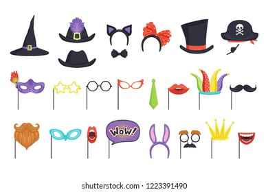 Colorful set with carnival masks and hats. Witch cap, glasses, beard, lips, speech bubble, cat ears and bow tie. Accessories for party and masquerade. Flat vector