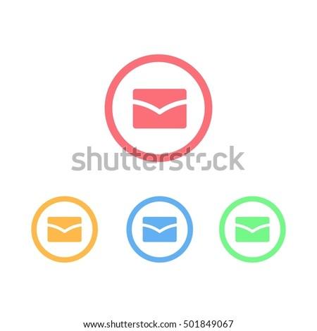 Colorful Set Circle Ring Mail Logo Stock Vector (Royalty