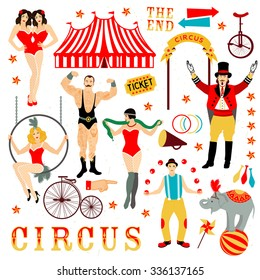 Colorful set with circus star