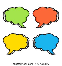 Colorful set of comic speech bubbles. Vector illustration