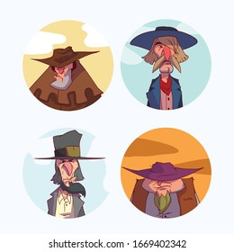 Colorful set of cowboy portrait illustrations