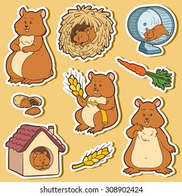 Colorful set of cute domestic animals and objects, vector stickers with family of hamsters and objects