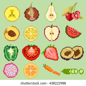 Colorful set cutting exotic fruits for icon game design