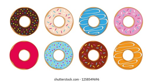 colorful set of donuts with different sprinkles vector illustration EPS10