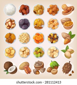 Colorful set of dried fruit and nuts. Top view