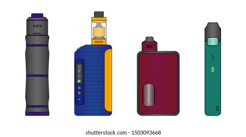 Colorful set of e-cigarettes. Mechanical mod, box mod, squonk mod and pod system. Vector illustration EPS10.
