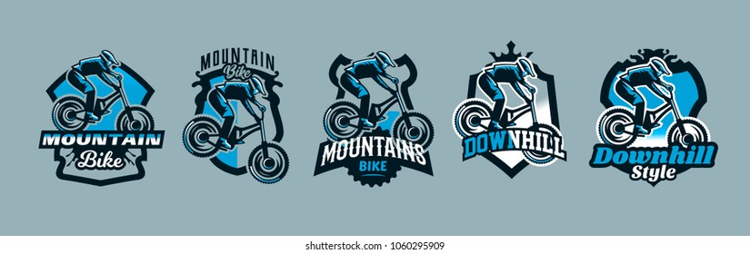 A colorful set of emblems, badges, logos of a rider flying on a mountain bike. Bicycle, transport, downhill, freeride, extreme, sports. T-shirt printing, vector illustration.