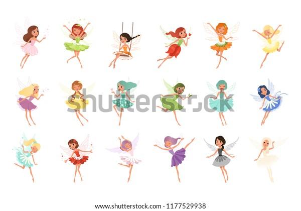 Красочный набор фей в летающем действии. Маленькие существа с красочными волосами и крыльями. Мифические сказочные персонажи в милых платьях. Плоский векторный дизайн
