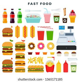 Colorful set of fast food products. Hamburger, cheeseburger, hot dog, donut, fried potatoes, sauce, salad, coffee, ice cream, cocktail, Cola, ketchup, mustard, etc. Vector illustration in flat style.