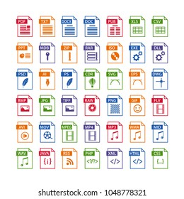 colorful set of file type icons. file format icon set in color, files symbols buttons, simple design