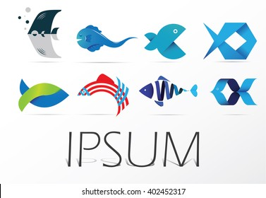 Colorful set of fish icon, vector logo design, abstract icon.