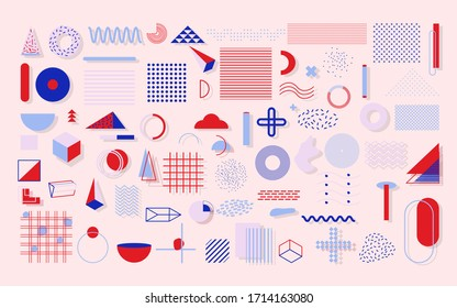 Colorful set geometric shape. Trendy halftone in style 90s. Memphis with shadow trends blue and red color pattern for design web banner, billboard, sale poster, leaflet. Isolated vector illustration
