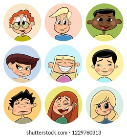 Colorful set of girl and boy faces portrait. Cartoon Vector Illustration.