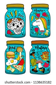Colorful set of glass jars and monsters. Vector illustrations collection.