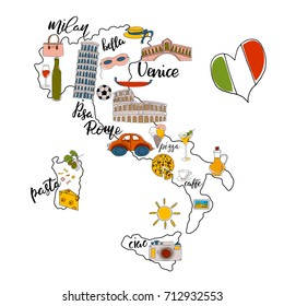Colorful set of hand drawn objects and lettering about Italy.  Unique childish style vector illustration.