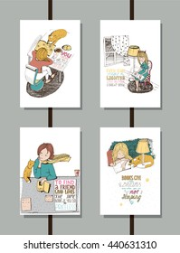 Colorful set of handdrawn educational lettering illustrations, with quotes about reading and books, lovely girl and cute cat. Vertical isolated on white vector posters, good for library and bookstore