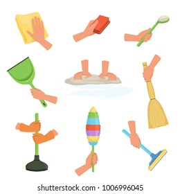 Colorful set of human hands using rag, dust brush, mop, broom, scoop and plunger. Equipment for cleaning house or car. Cartoon flat vector design