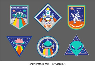 Colorful set icons with patches stickers on topic space explore alien ufo spaceship mars astronaut. Modern vector style mascot logo trendy print for clothes t shirt sweatshirt poster.
