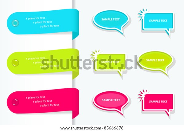 colorful set of labels badges and bubbles