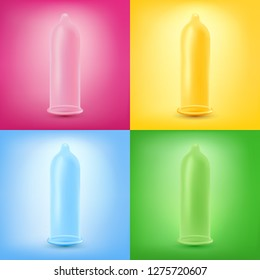 Colorful set of latex condoms. Realistic vector illustration. Different colors and backgrounds.