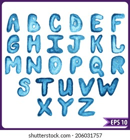 Colorful set of the letters of the alphabet painted with watercolors for your design. Font